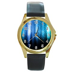 Blue Abstract Vectical Lines Round Gold Metal Watch