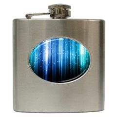 Blue Abstract Vectical Lines Hip Flask (6 oz)