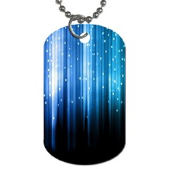 Blue Abstract Vectical Lines Dog Tag (Two Sides)