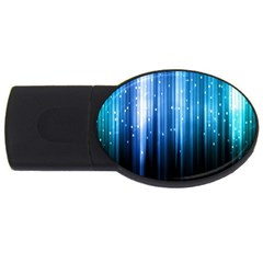 Blue Abstract Vectical Lines USB Flash Drive Oval (2 GB)
