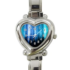 Blue Abstract Vectical Lines Heart Italian Charm Watch