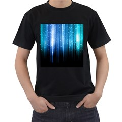 Blue Abstract Vectical Lines Men s T-Shirt (Black) (Two Sided)