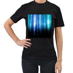 Blue Abstract Vectical Lines Women s T Shirt (black) (two Sided)