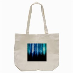 Blue Abstract Vectical Lines Tote Bag (Cream)
