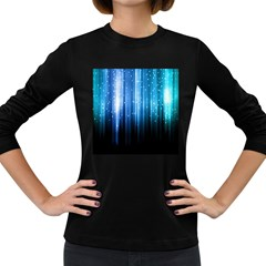 Blue Abstract Vectical Lines Women s Long Sleeve Dark T-Shirts