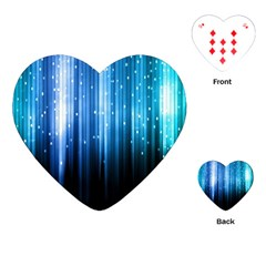 Blue Abstract Vectical Lines Playing Cards (Heart)