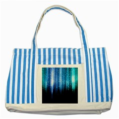 Blue Abstract Vectical Lines Striped Blue Tote Bag