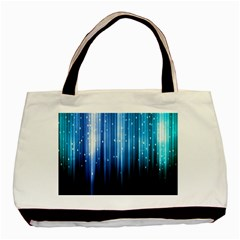 Blue Abstract Vectical Lines Basic Tote Bag (Two Sides)