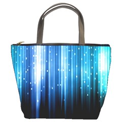 Blue Abstract Vectical Lines Bucket Bags