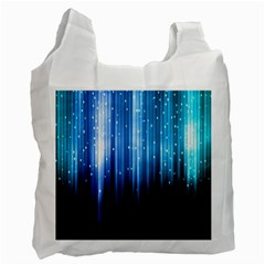 Blue Abstract Vectical Lines Recycle Bag (one Side)