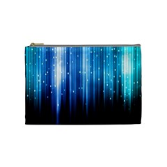 Blue Abstract Vectical Lines Cosmetic Bag (Medium)