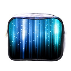 Blue Abstract Vectical Lines Mini Toiletries Bags