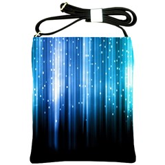 Blue Abstract Vectical Lines Shoulder Sling Bags