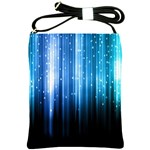 Blue Abstract Vectical Lines Shoulder Sling Bags Front