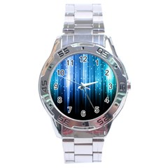 Blue Abstract Vectical Lines Stainless Steel Analogue Watch