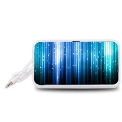 Blue Abstract Vectical Lines Portable Speaker (white)
