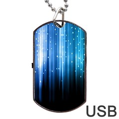 Blue Abstract Vectical Lines Dog Tag Usb Flash (one Side)