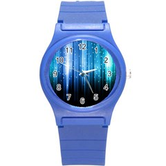 Blue Abstract Vectical Lines Round Plastic Sport Watch (S)