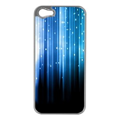Blue Abstract Vectical Lines Apple iPhone 5 Case (Silver)