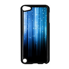 Blue Abstract Vectical Lines Apple iPod Touch 5 Case (Black)