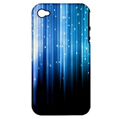 Blue Abstract Vectical Lines Apple Iphone 4/4s Hardshell Case (pc+silicone)