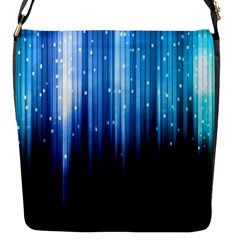 Blue Abstract Vectical Lines Flap Messenger Bag (S)