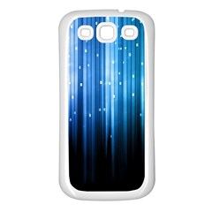 Blue Abstract Vectical Lines Samsung Galaxy S3 Back Case (White)