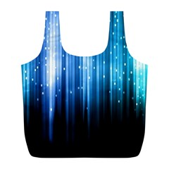 Blue Abstract Vectical Lines Full Print Recycle Bags (l)