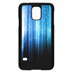 Blue Abstract Vectical Lines Samsung Galaxy S5 Case (Black)