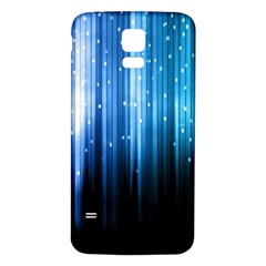 Blue Abstract Vectical Lines Samsung Galaxy S5 Back Case (white)