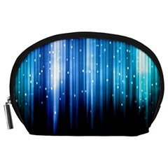 Blue Abstract Vectical Lines Accessory Pouches (Large)