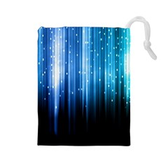 Blue Abstract Vectical Lines Drawstring Pouches (large)