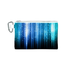 Blue Abstract Vectical Lines Canvas Cosmetic Bag (s)