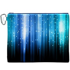 Blue Abstract Vectical Lines Canvas Cosmetic Bag (XXXL)