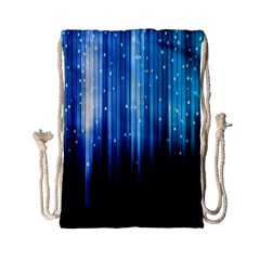 Blue Abstract Vectical Lines Drawstring Bag (Small)