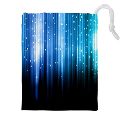 Blue Abstract Vectical Lines Drawstring Pouches (xxl)
