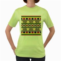 Tribal Pattern Women s Green T-Shirt