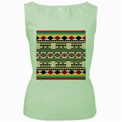 Tribal Pattern Women s Green Tank Top