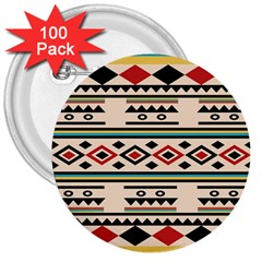 Tribal Pattern 3  Buttons (100 Pack)