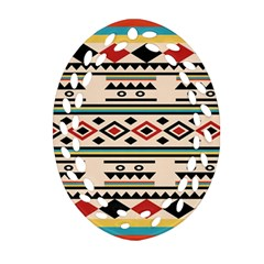 Tribal Pattern Oval Filigree Ornament (Two Sides)