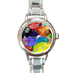 Colorful Balloons Render Round Italian Charm Watch