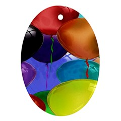 Colorful Balloons Render Ornament (Oval)