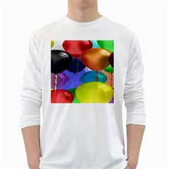 Colorful Balloons Render White Long Sleeve T Shirts