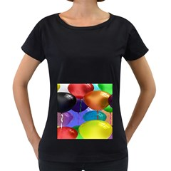 Colorful Balloons Render Women s Loose-Fit T-Shirt (Black)