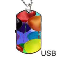 Colorful Balloons Render Dog Tag USB Flash (One Side)