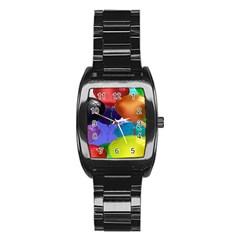 Colorful Balloons Render Stainless Steel Barrel Watch