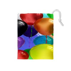 Colorful Balloons Render Drawstring Pouches (Medium)