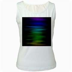 Blue And Green Lines Women s White Tank Top