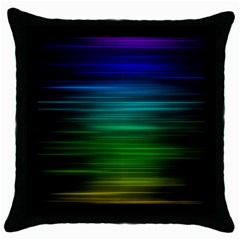 Blue And Green Lines Throw Pillow Case (black)
