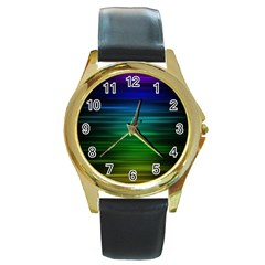 Blue And Green Lines Round Gold Metal Watch